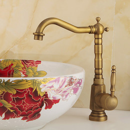 Wholesale Copper Plating Lead - Luxury Antique Brass Faucet bathroom faucet Hot And Cold Heightening Counter lead waterfall faucet Retro Copper Rotatable With Single Holder