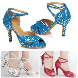 Wholesale White Satin Ballroom Shoes - New Fashion White red print three colors PU Latin dance shoes Women's Ballroom dancing shoes Salsa Tango Square dance shoes High heels 8.5cm