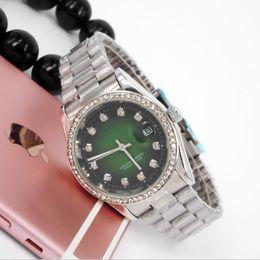 Wholesale Womens Gold Dresses - Diamond relogio feminino black watch womens fashion lady green dress ladies watches top brand luxury clocks Steel Alloy metal Clasp Straps