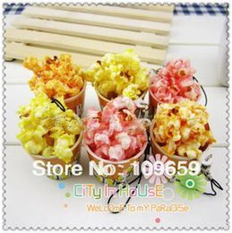Wholesale Cell Phone Pvc Strap - Wholesale-Free Shipping,artificial popcorn puffed rice Charms, Squishies PVC Cell Phone Straps, Wholesale 20pcs lot