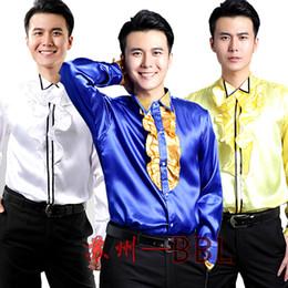 Wholesale White Ruffle Shirt Men - Wholesale- Men Stage Performance Chorus Dance Host Ruffles Shirts Male Long Sleeved Costumes Singer Show Shirts White Yellow Blue W477