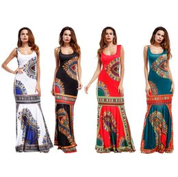 Wholesale Dresses For Big - Women African Dashiki Dresses Maxi African Bazin Print Robe Longue Dresses Traditional For Ladies Big Size African Clothing