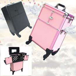 Wholesale Trolley Cosmetic Box - Professioal Nail Polish Manicure Makeup Trolley Case Box Organizers Storage Travel Cosmetic Bag Women Makeup Bag