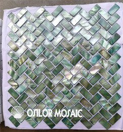 Wholesale Mosaic Tile Backsplash - green color Chinese freshwater shell mother of pearl mosaic tile for backsplash and bathroom wall new style