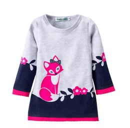 Wholesale Fox Style - Autumn dresses for girl Girls clothing Cute Fox Prints Lace Flowers dress Long sleeve Winter bottom dresses 2T 3T 4T 5T 6T 2017 Hotsale