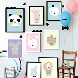 Wholesale Interior Wall Paintings Pictures - Nursery Posters And Prints Elephant Rabbit Animal Design Wall Art Paper Painting Cute Wall Pictures Kids Interior Decoration No Frame