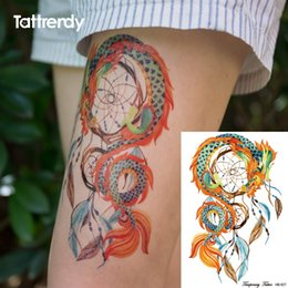 Wholesale Tattoo Arm Dragons - Wholesale- 1pc body art painting dragon dream catcher butterfly feather big for women arm leg waterproof flash dreamcatcher fake tattoo