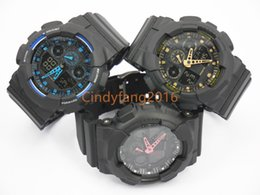 Wholesale dual time display watches - TOP quality AAA GA100 all black colors small dial work waterproof dual display g sports watch GMT shocking watches men wholesale no box 1pcs