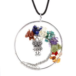 Wholesale Color Owl Necklace - Post promotional European and American owl hanging tree three color natural stone crystal alloy Pendant Necklace