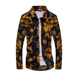Wholesale colorful mens clothes - Wholesale- Free shipping Colorful spring and summer fashion brand mens clothes printed shirt large size Slim floral shirt men