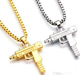 Wholesale Hip Hop Pendant Brand - Uzi Gold Chain Hip Hop Long Pendant Necklace Men Women Fashion Brand Gun Shape Pistol Pendant Maxi Necklace HIPHOP Jewelry
