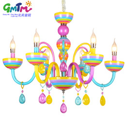 Wholesale Iron European Chandeliers - Childrens candle chandelier european-style colorful elegant chandelier crystal modern for restaurant bedroom dinning room living room