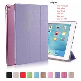 Wholesale Transparent Color Ipad Mini - Silk Skin Smart Cover for iPad Mini 2 3 4 Ultral Slim PU Leather Stand Case 9.7 inch iPad Pro iPad Air 2 Folding Transparent Clear Covers