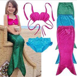 86a82f24902bd 3PCS SET Girl Swimwear Children Girl Swimsuit Bikini Mermaid Swim Kids  Grils Summer Wear Two-Pieces Swimwear Bathing Suit Beach Wear HOT