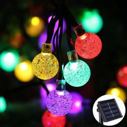 Wholesale Lighted Crystal Christmas Tree - Solar Powered Christmas Tree Decor Waterproof 6M 30 Leds Crystal Bubble Ball Light Wedding New Year Holiday Fairy Lamp String