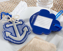 Wholesale Blue Plastic Gift Bags - Beach Theme Anchor Luggage Tag Blue Plastic Bag Tag Wedding Favor Bridal Shower Party Gift Guest Present Favour