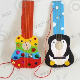 Wholesale Handmade Wooden Paintings - Wholesale- 2pcs wooden DIY guitar drawing board kid's kindergarden handmade craft with 6 colors paint and brush children educational toys