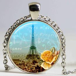 Wholesale Romance Jewelry - Glass Photo Jewelry Eiffel Tower Pendant Necklace Jewelry 1920s Romance Paris City of Lights Photo Necklace Glass Dome Decklace