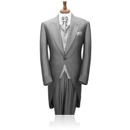 Wholesale Mens Grey Skinny Suit - Wholesale- 2016 New Custom Made Fashion Smoking Grey Mens Tuxedo Slim Fit Groom Tuxedos Wedding Suits Dress Suits Formal Party Suits