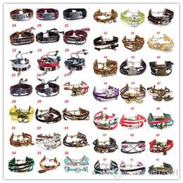 Wholesale Pearl Charm Bracelet Antique - free shipping 85 Designs Leather Bracelet Antique Cross Anchor Love Peach Heart Owl Bird Believe Pearl Knitting Bronze Charm Bracelets