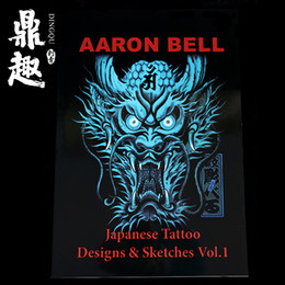 Wholesale High Quality Tattoo Dragon - Japanese Tattoo Design Sketches Dragon Pattern Tattoo Manuscript A3 Size 60 Pages High Quality Tattoo Book Falsh TB2203