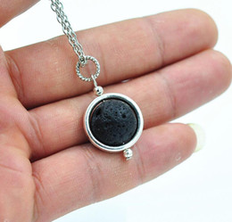 Wholesale Rocks Gifts - 14mm Lava-rock Bead Pendant Necklace Aromatherapy Essential Oil Diffuser Necklaces Black Lava Pendant Jewelry For Women