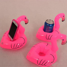 Wholesale Pink Promotional Items - Pink Flamingo Floating Inflatable Drink holder Can Cell Phone Holder bottle holder kids Swimming Pool Bath Beach Toys