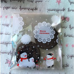 Wholesale Disposable Gift Bags - Wholesale- 25PCS Lot Christmas Gifts Bag Silver Lace Snowflake Snowman Navidad Bake Cookies Biscuit Christmas Bag New Year Gifts