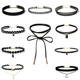 Wholesale Necklaces Pieces Sale - Hot Sales Women Jewelry Sets Black Choker Many Styles Layers Velvet Leather Lace Elastic Materials 8 Pieces lots Necklaces