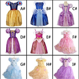 Wholesale Dresses Boat - 9 Design forzen belle sofia cinderella sleeping beauty girl's Christmas Halloween Role-play Costume Dresses for birthday party