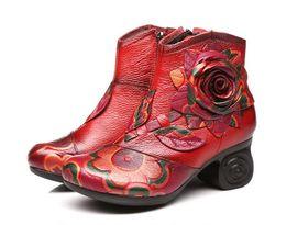 Las mujeres más populares de cuero de vaca zapatos de mujer de moda botas de tobillo 2017 otoño invierno zapatos de cuero genuino mujer zapatos de Bohemia de tacón alto desde fabricantes