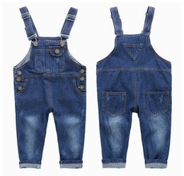 Wholesale Baby Denim Overalls - Kids Baby Children Clothing Gilrs Boys Denim Jeans Long Overalls Jumpsuit Rompers For Girls Boys New Autumn Spring 18M-7 Year