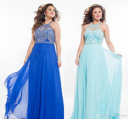 Wholesale Halter Dresses For Evening - Charming Plus Size Evening Dresses Prom Gowns Beaded Halter Blue Chiffon Ruched Plus Size Special Occasion Dresses For Party