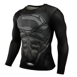 Wholesale Grey Black Silver Sleeves Shirt - Slim Men T Shirts Cartoon Gym Clothing 4xl compression shirts print Long Sleeve T-Shirt Hiphop O-neck Tops 2xl men suprem