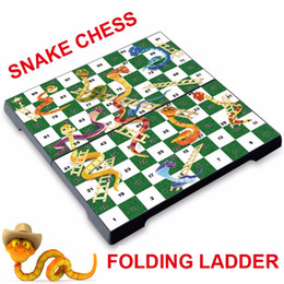 Wholesale Portable Chess - High Quality Folding Ladder Magnetic Snake Chess Toys For Children Portable Snakes and Ladders Puzzle Game