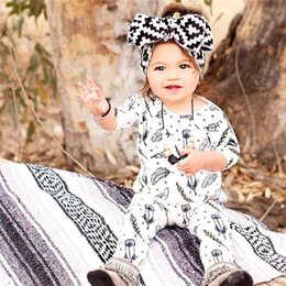 Wholesale Halloween Outfit Infant - Baby Girls fashion Feather print Romper ins hot infants jumpsuit white printing long sleeves romper for boys girls outfits 1-2T