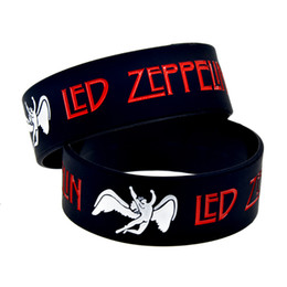 "Wholesale Glow Inks - Wholesale 50PCS Lot Heavy Metal Style Music Band Led Zeppelin Silicone Bracelet 1"" Wide Ink Filled Colour"