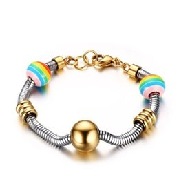 Wholesale Rainbow Snakes - 2017 New Arrival Stainless Steel Bracelet Rainbow Color Beads Bracelet Snake Chain Stainless Steel Jewelry BR-337