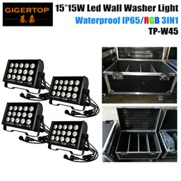 Wholesale Wash Cups Wholesale - 4IN1 Flightcase Pack 15*15W LED Wall Wash Lamp 225W Washer Flood Light Reflector Cup Outdoor Landscape Lighting Smooth RGB 3IN1