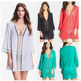 Wholesale White Beachwear Dresses - Women Swimwear Beachwear Bikini Swimsuit Lace V neck Wear Plus Size Beach Dress Sarong Bathing Cotton Suit Cover Up Bathing Suit