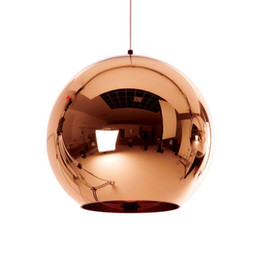 Wholesale Knob Copper - Modern Gold sillver copper plated glass ball globe single pendant lamp E27 holder for dinning room bar store decor