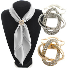 Wholesale Purpose Dual - 2 in 1 Dual purpose scarf accessories jewelry gold plated alloy twine scarf clip brooch for scarf rhinestone brooch
