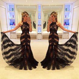 Wholesale Desses Evening - Simple Sexy Black Lace Evening Dresses formal Gown Custom Made 2017 Halter Mermaid Prom Desses Vestido De Festa