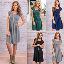 Wholesale Ladies Graduation Dresses - 2017 Cheapest Bursts of Hot Round Neck Short Sleeve Dress Solid 4 colors , Ladies Daily Clothes For Pregnant S04