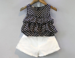 Wholesale Cute Chiffon Tops - 2pcs set gilrs fashion suits summer girls Chiffon dot sleeveless tops T shirts+girls shorts baby girls set kids clothes outfit set suit