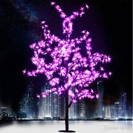 Wholesale Decorative Crystals - 1.5M 1.8M LED Crystal Cherry Blossom Tree Lights Christmas New year Luminaria Decorative Tree Lamp Landscape Outdoor Lighting