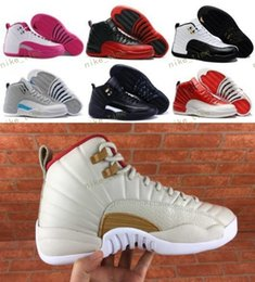Wholesale Red Light Taxi - High Quality Retro 12 Wool Men Basketball Shoes 12s Wool Grey Black taxi playoffs french blue Men And Women 12s j12 Sports Sneakers