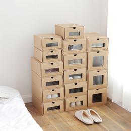 Wholesale Wood Shoes Storage - Drawer Type Kraft Paper Shoes Storage Box Transparent Shoe Boxes Simple Storage Case Boots Storage Box Finishing Sundries Finishing
