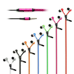 Wholesale Earphone Mp3 Bass - Zipper Earphones Headset 3.5MM Jack Bass Earbuds In-Ear Zip Earphone Headphone with MIC for Iphone 5 6 Plus Samsung S6 android phone mp3 pc