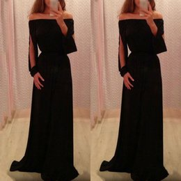 Wholesale Inexpensive Coral Prom Dresses - Inexpensive Sexy Elegant Black Evening Gowns Off the Shoulder Split Long Sleeves Custom Made Formal Prom Party Dresses